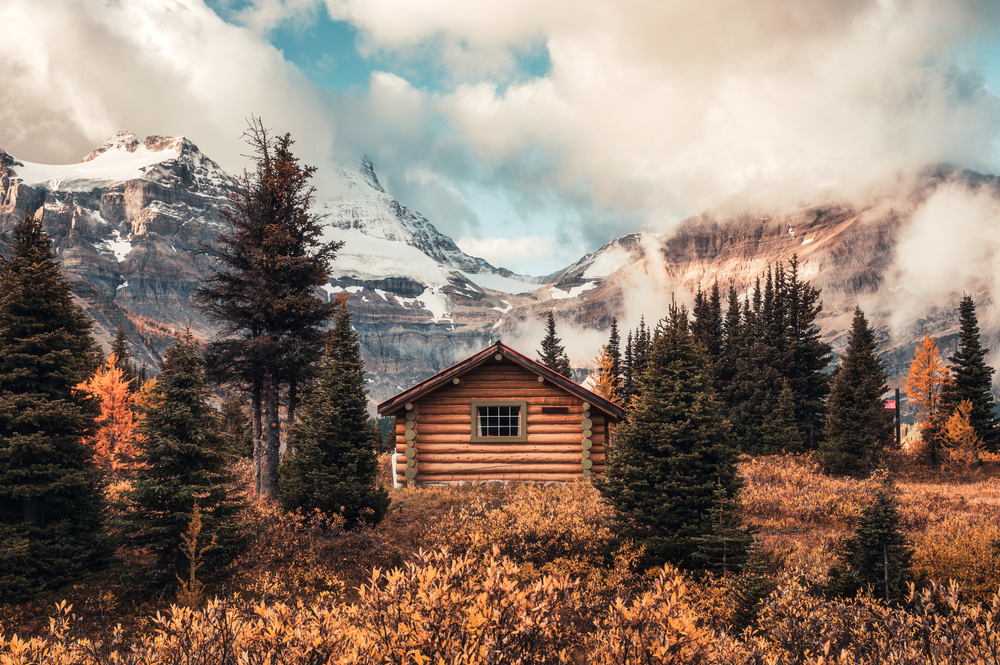 Wooden hut in Canada