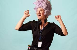 Virginia Gay in a pink wig