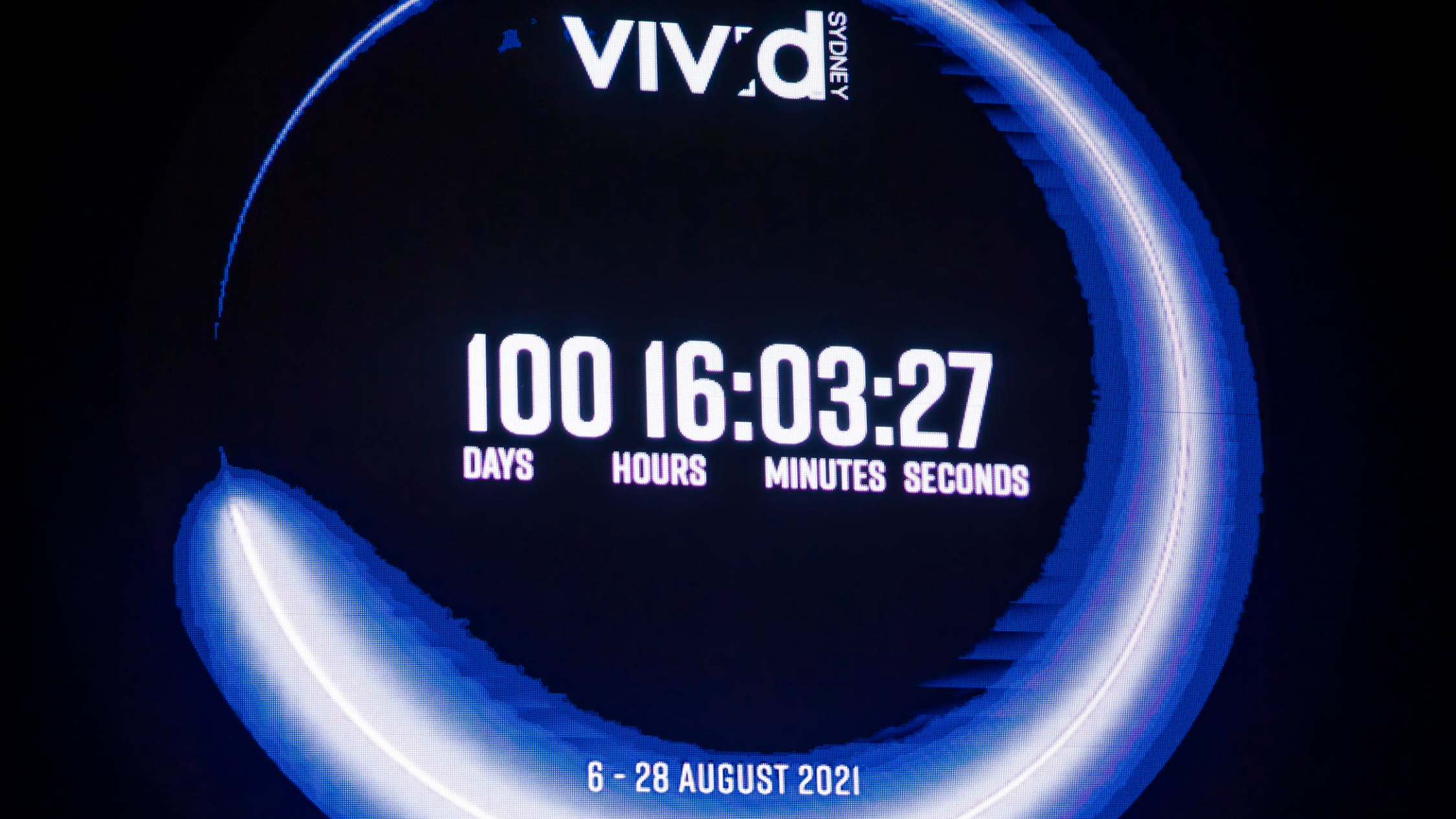 A giant glowing clock counting down to the first night of Vivid has appeared in the Rocks
