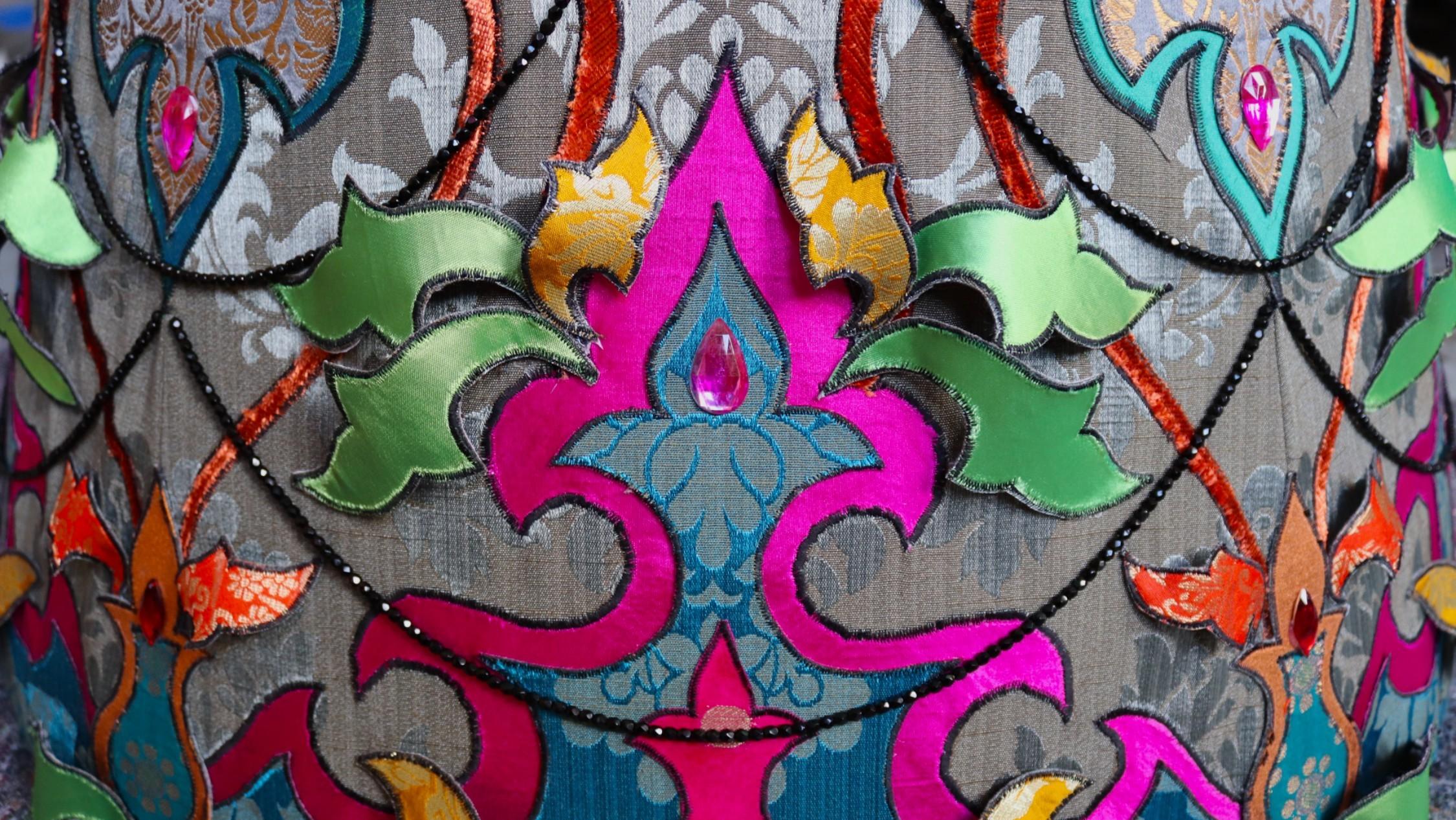 a stunning, colourful textile sculpture