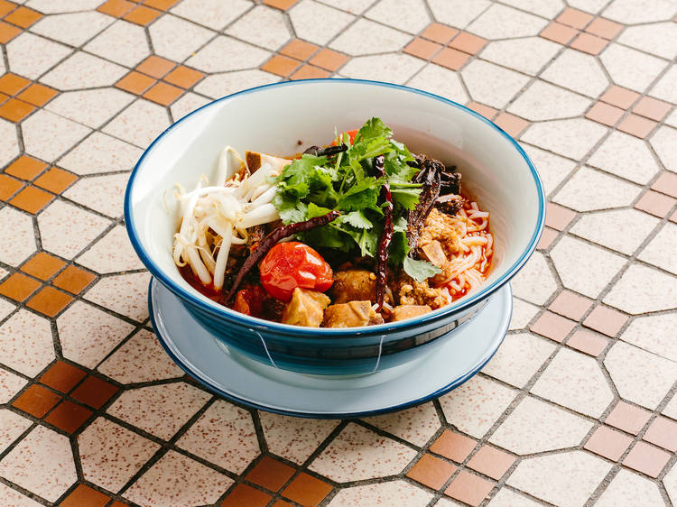 Spicy pork tomato noodles by Narisara Somboon of ChaChaWan