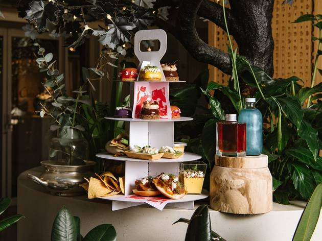 Alibi is boxing up its vegan high tea in a takeaway picnic pack