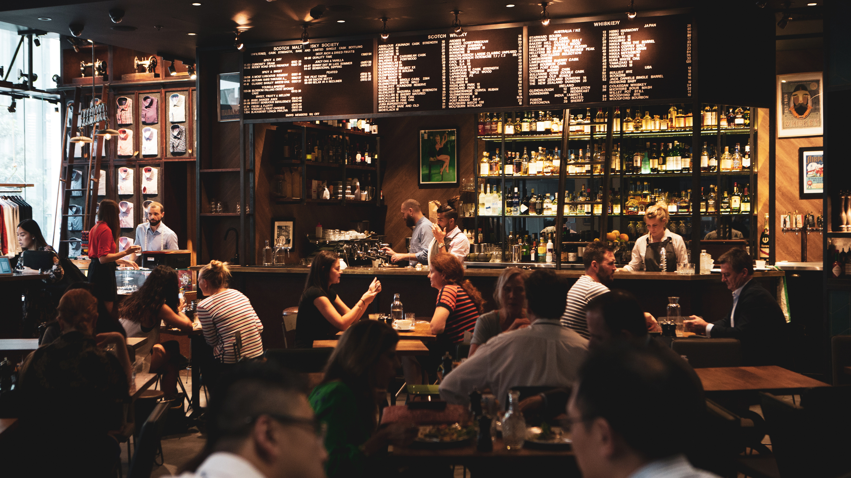 Punters enjoy a drink at Shirt Bar Barangaroo