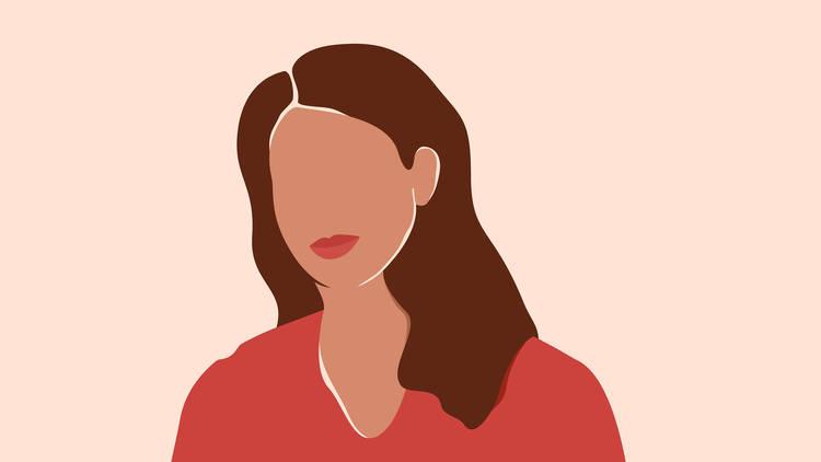 Ilustración vectorial de mujer con cabello a los hombros