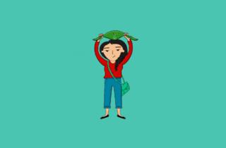 Ilustración de mujer con manos arriba y paleacate verde
