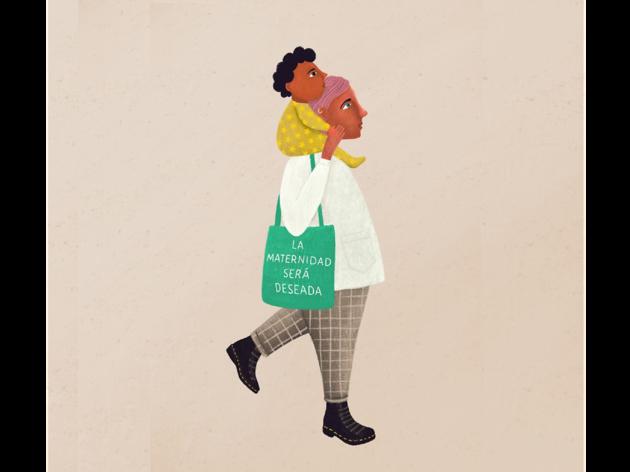 Ilustración de mujer con niño sobre los hombros