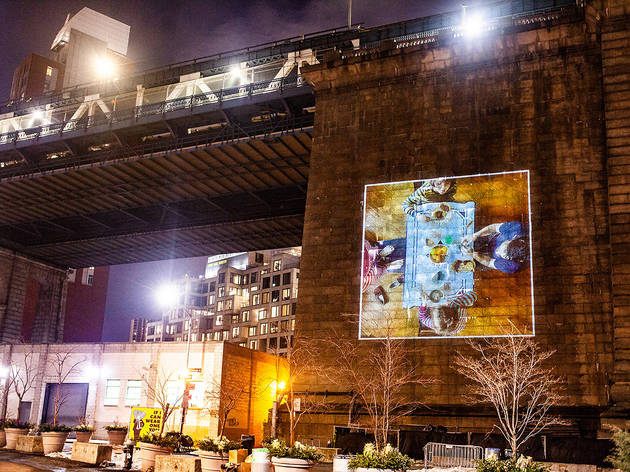 A photo series honoring parents will be projected on the Manhattan Bridge starting this weekend