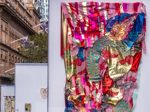 A textural tapestry predominantly in pink  on show in Martin Place