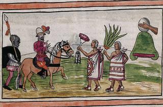 La llegada de españoles a territorio americano. Imagen de la Biblioteca Nacional de España por Diego Durán.