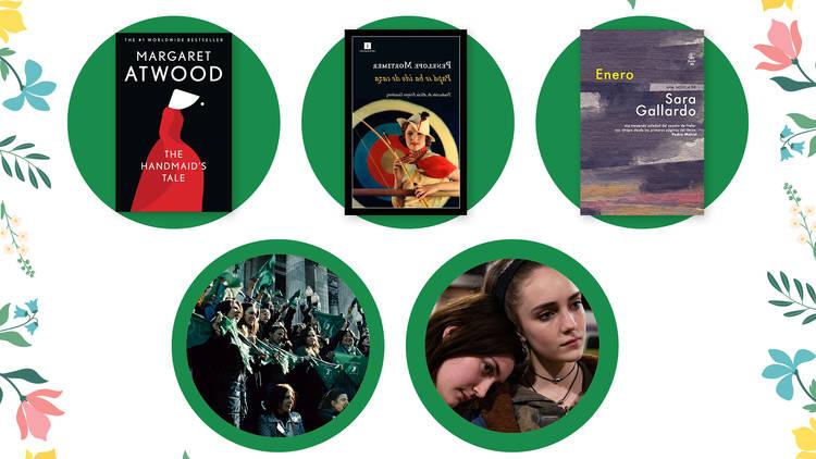 Collage de libros y películas sobre el aborto