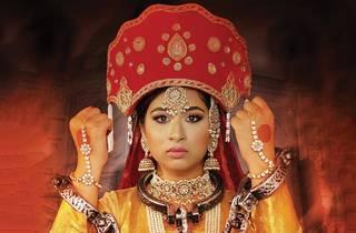 Woman in ornate headpiece