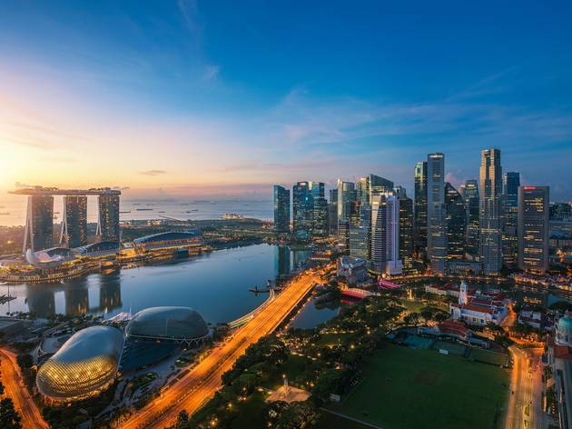 Singapore, Aerial view of Singapore business district
