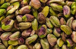 Pile of pistachios.
