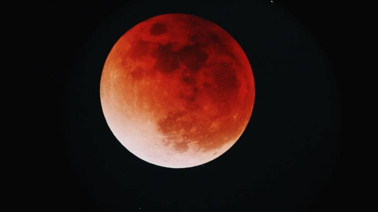 Zoomed in red lunar eclipse moon