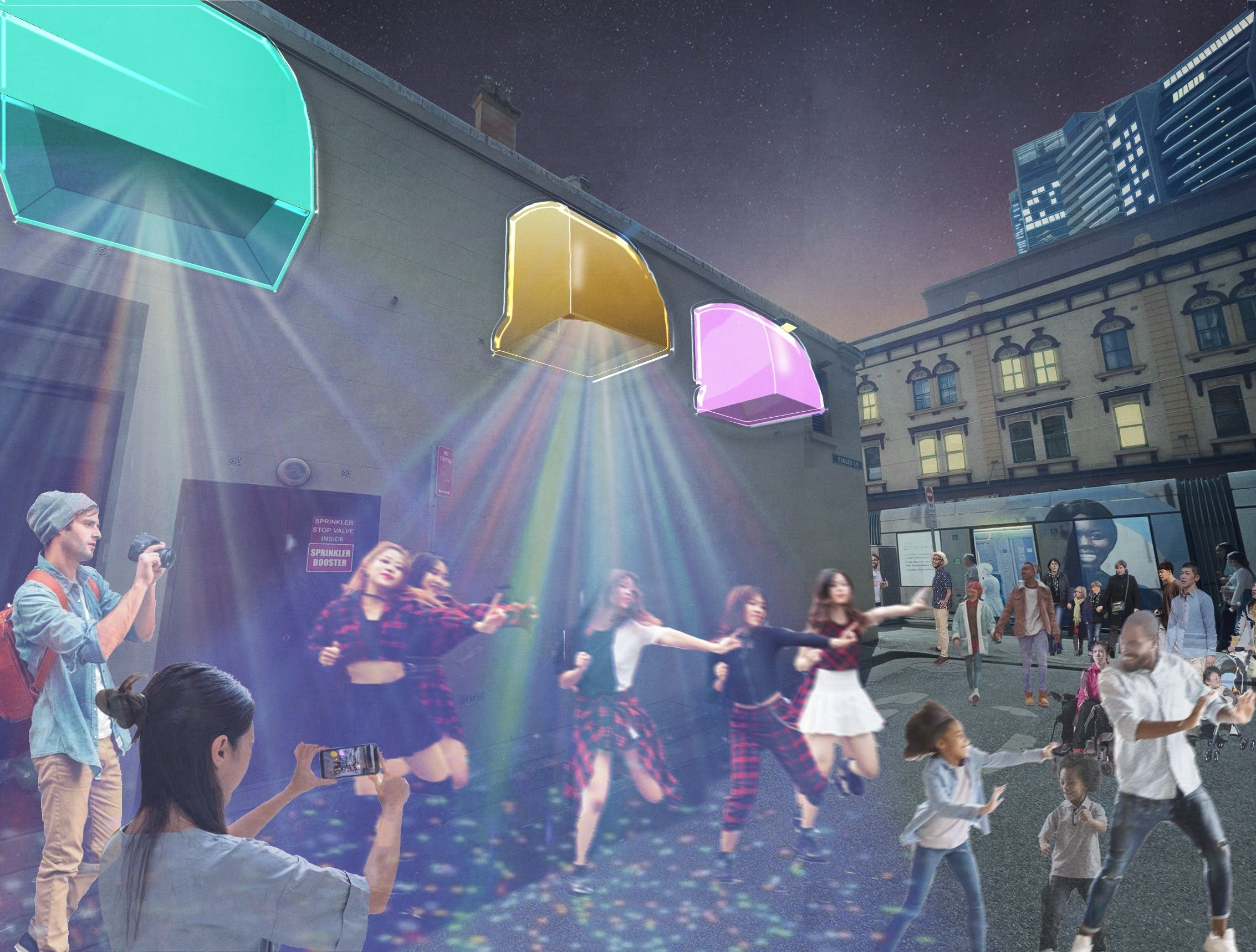 Artist rendering of people dancing at night under different coloured lights.