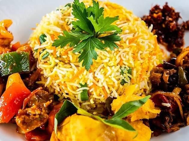 Sri Lankan rice and curry at Ceylon Wok