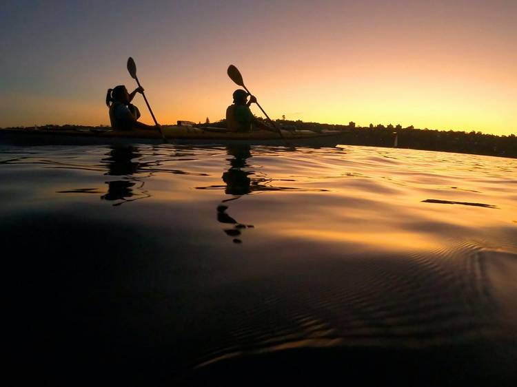 Explore the water at night aboard a kayak