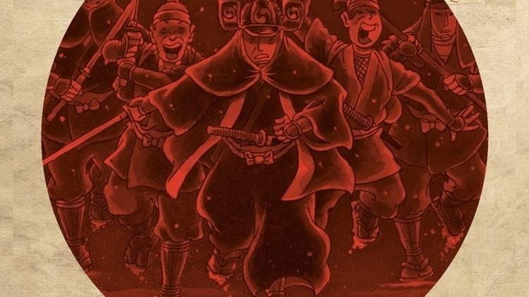 ilustracion de samurais con filtro rojo y fondo texturizado como pergamino