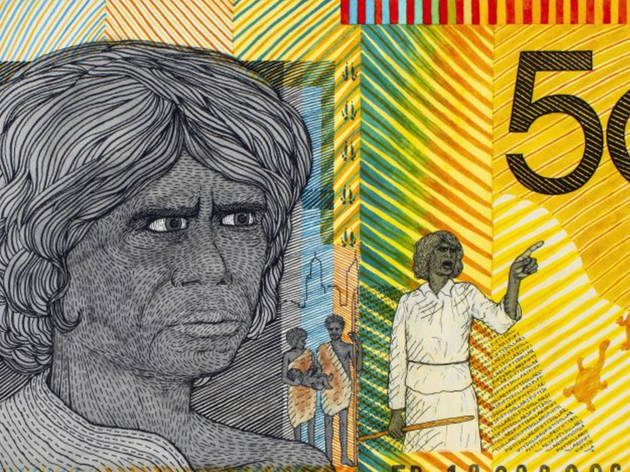 Artwork depicting First Nations pioneer Fanny Balbuk on the $50 note