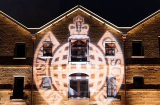 Logo of ministry of sound projected onto a building