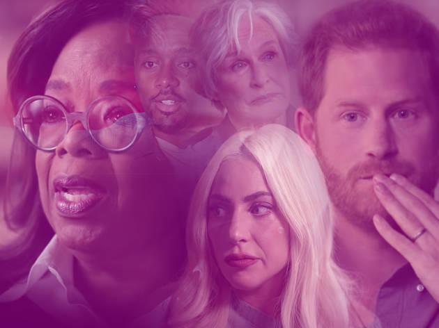 Image of Prince Harry, Oprah Winfrey, Lady Gaga, Glenn Close and chef Rashad with slight transparency and purple wash