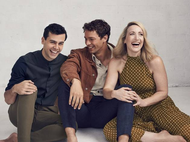 Merrily We Roll Along cast Ainsley Melham, Andrew Coshan and Elise McCann