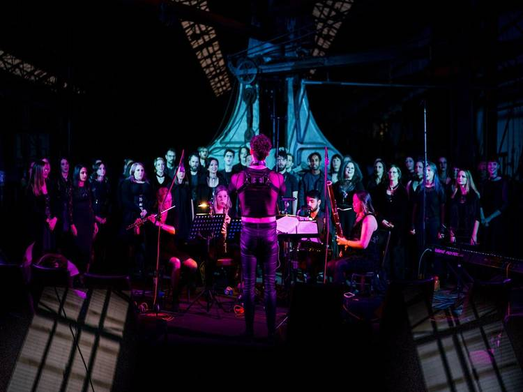 Hear a repertoire of haunting goth-inspired tracks sung by a choir in a church