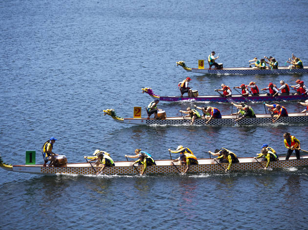 Dragon boats on water