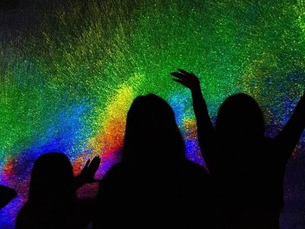 A digital installation evoking India's Holi festival