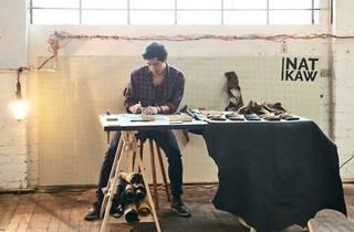 leather wallet-maker Nat Kaw at work at Woodburn Creatives
