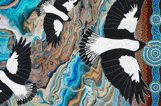 An image of three magpies on an abstract background of blues and browns