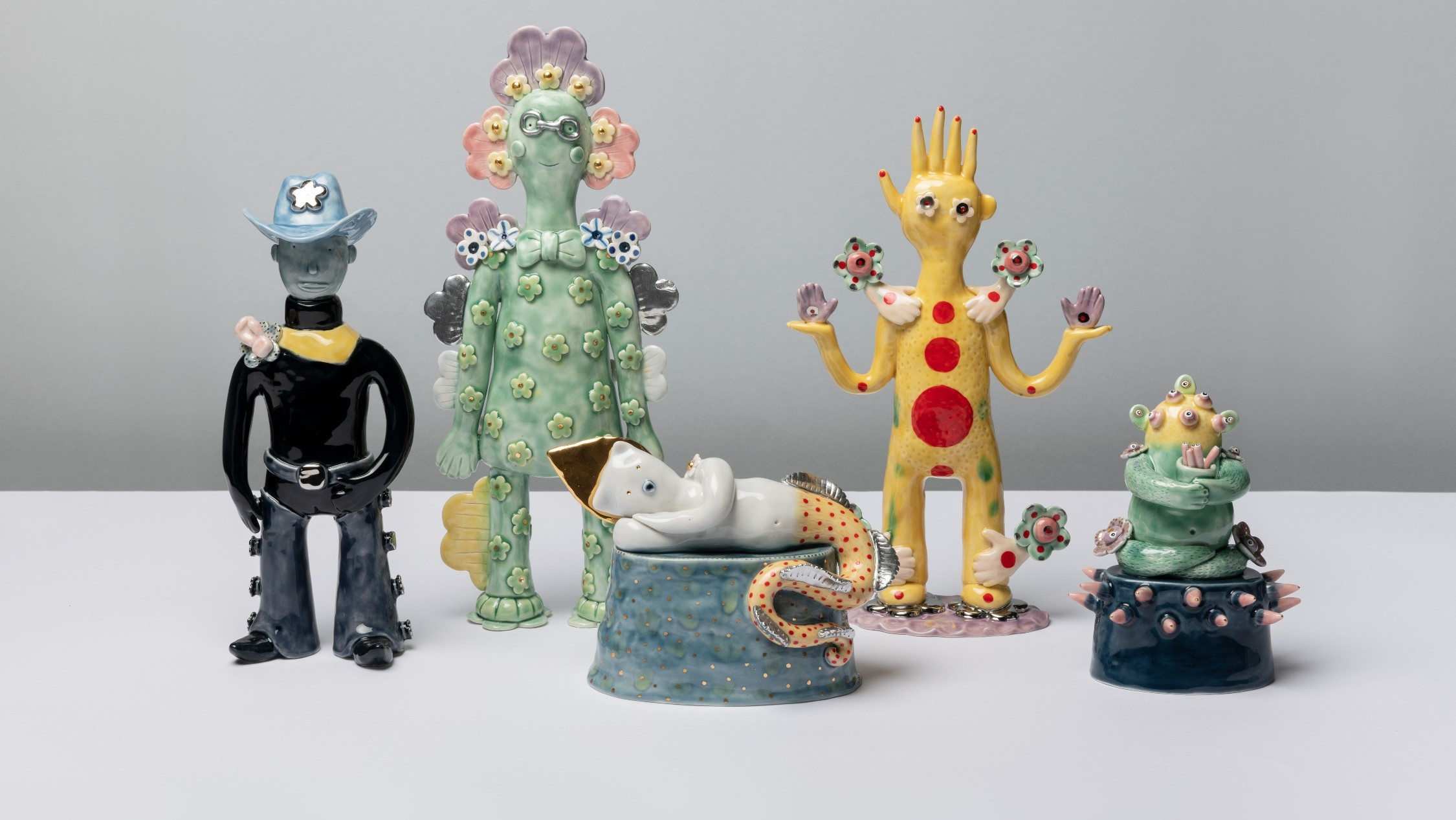 A collection of quirky, friendly-looking porcelain figurines