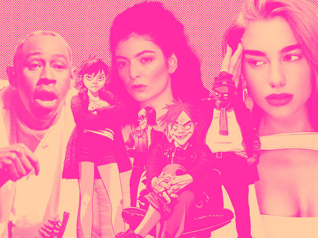 Tyler, The Creator, Dua Lipa, Lorde, and Gorillaz collage and faded into pink background
