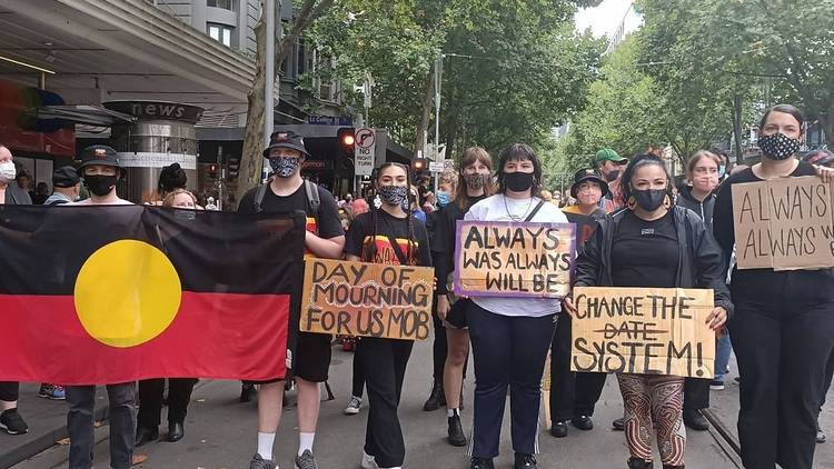 Ebony and friends at Invasion Day protest