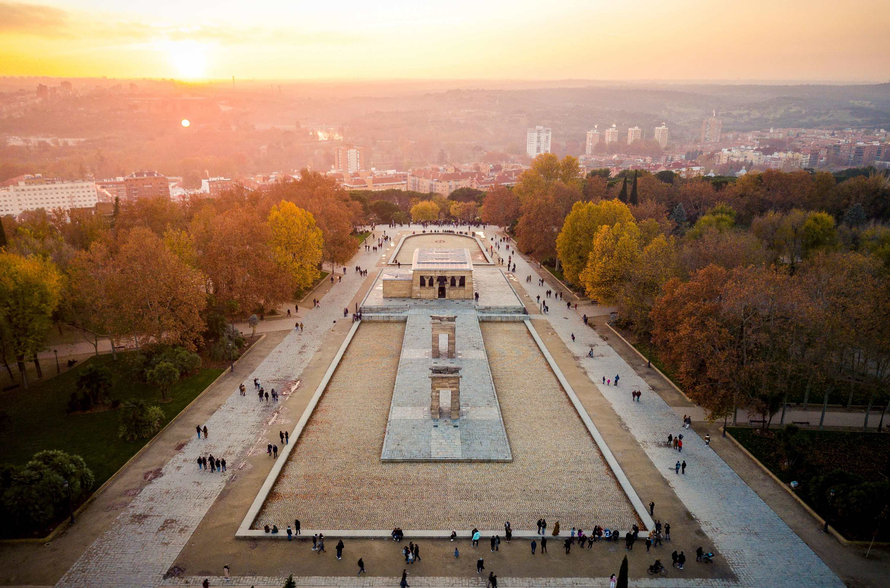 Aerial view of the Egyptian temple, Debod in Madrid, Spain