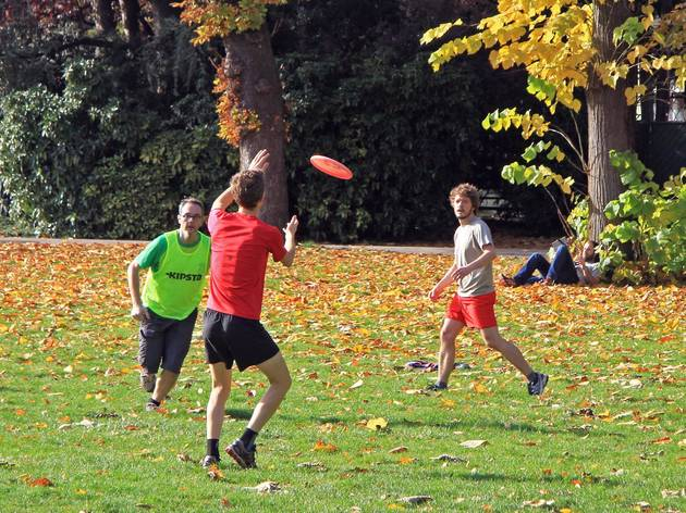 VIENNA, AUSTRIA - NOVEMBER 8, 2015: people are playing frisbee just for fun  in public city park in Vienna, Austria