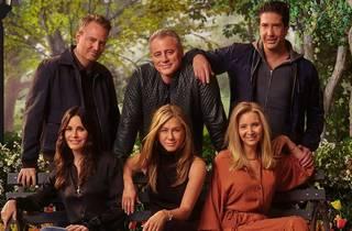 Back row: Chandler Bing, Joey Tribiani, Ross Geller; Front row (seated) Monica Geller, Rachel Green, Phoebe Buffet