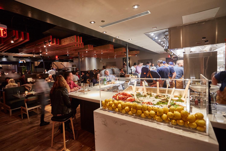 Open kitchen in a restaurant