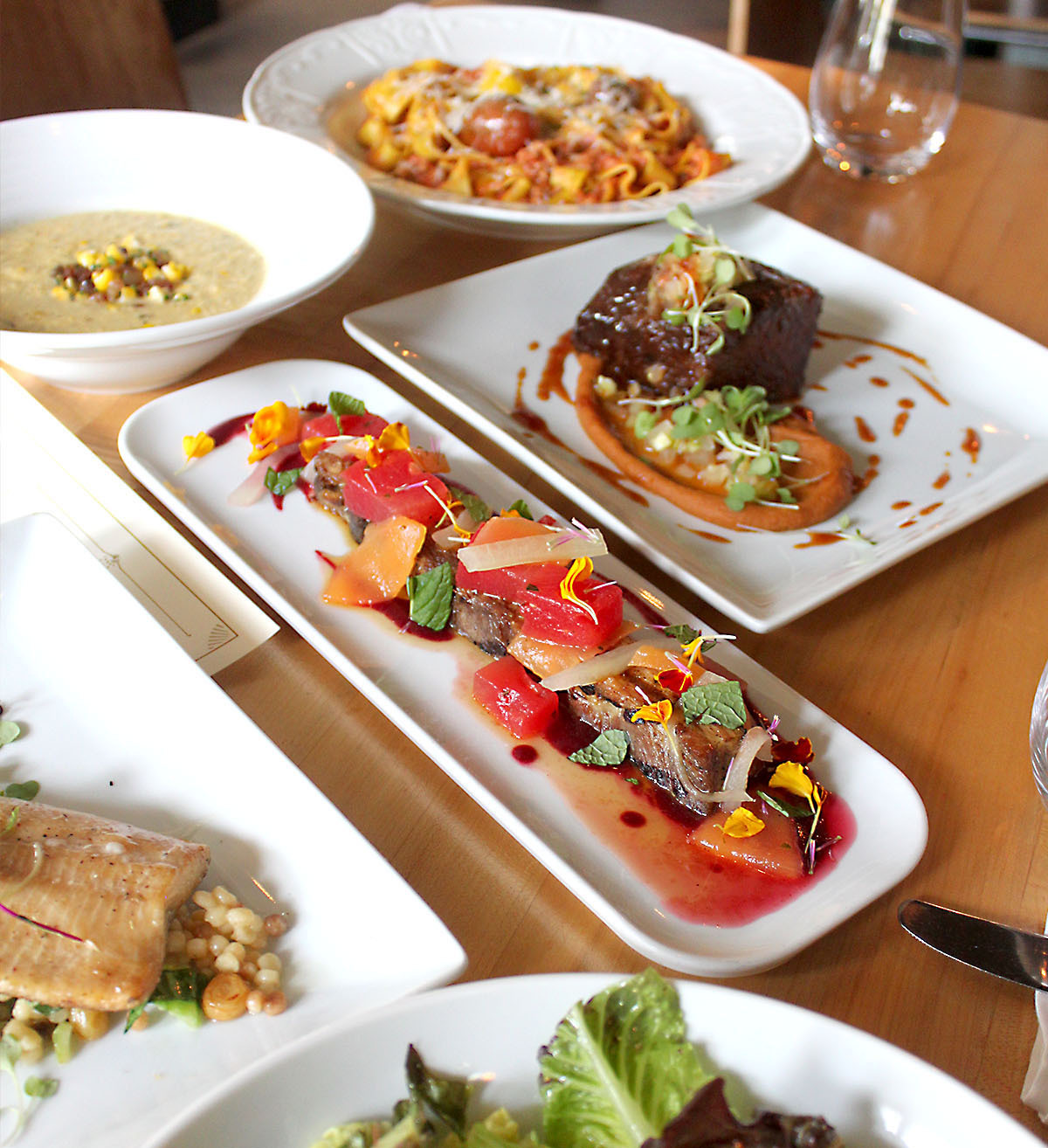 Plates of food on a table