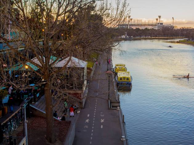 View from Princess Bridge, looking towards the MCG. The trees are leaf-less and it looks cold