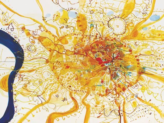 a beautiful work by John Olsen that looks like a solar flare