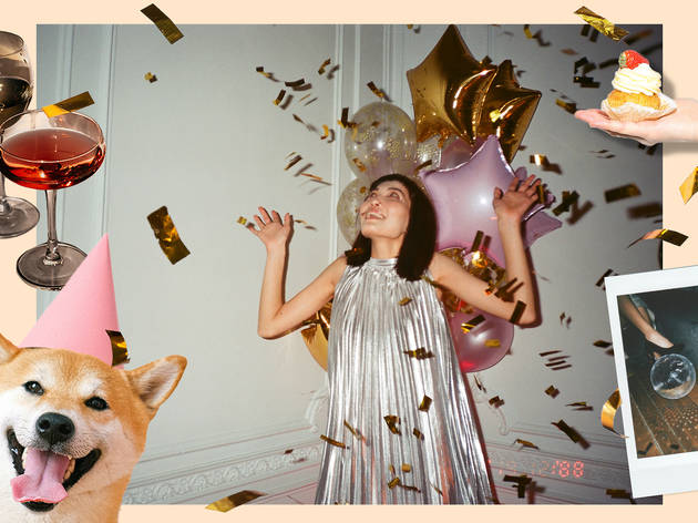 Person celebrating with balloons and streamers at home with photos of cocktails, dog with a party hat on and a cake in a hand