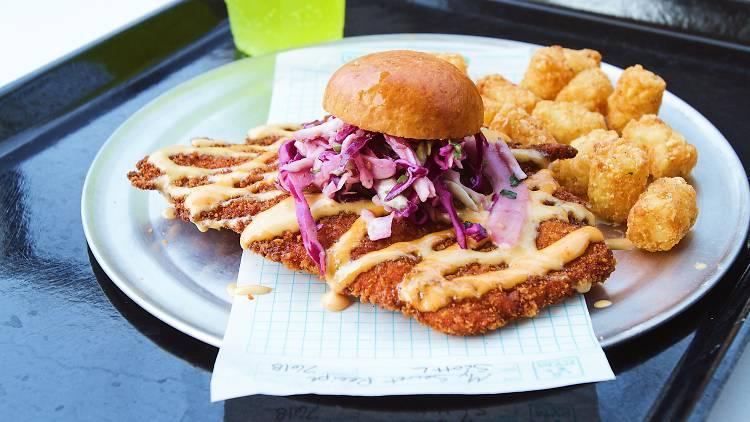 Avengers Campus fried chicken sandwich at Pym Test Kitchen in Disneyland California Adventure