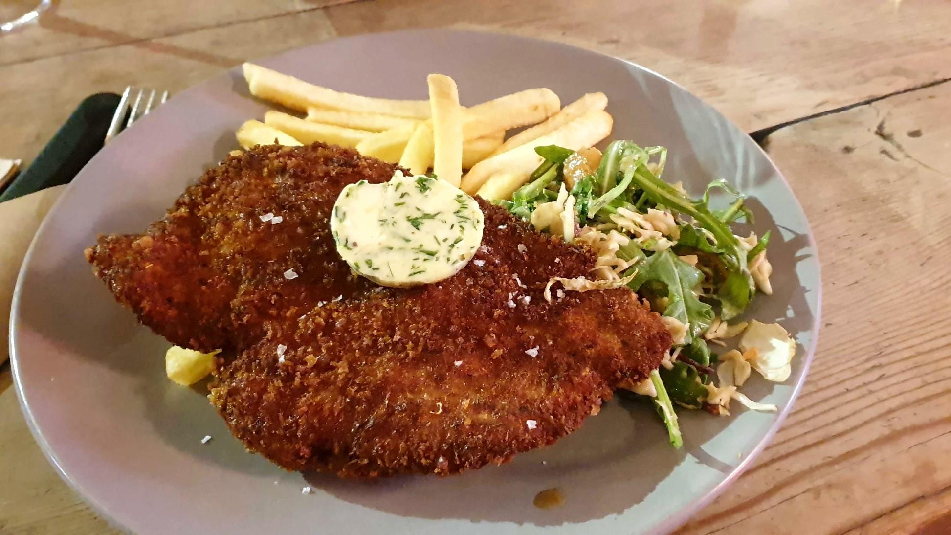 Chicken schnitzel at the Erko