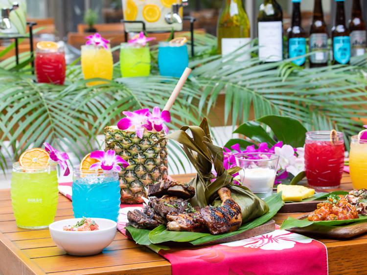 Hawaiian Beer Garden Luau Terrace at The Oak Door