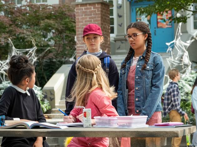 THE BABY-SITTERS CLUB: (L to R) MOMONA TAMADA as CLAUDIA KISHI, SHAY RUDOLPH as STACEY MCGILL, SOPHIE GRACE as KRISTY THOMAS and MALIA BAKER as MARY ANNE SPIER in EPISODE 1 of THE BABY-SITTERS CLUB