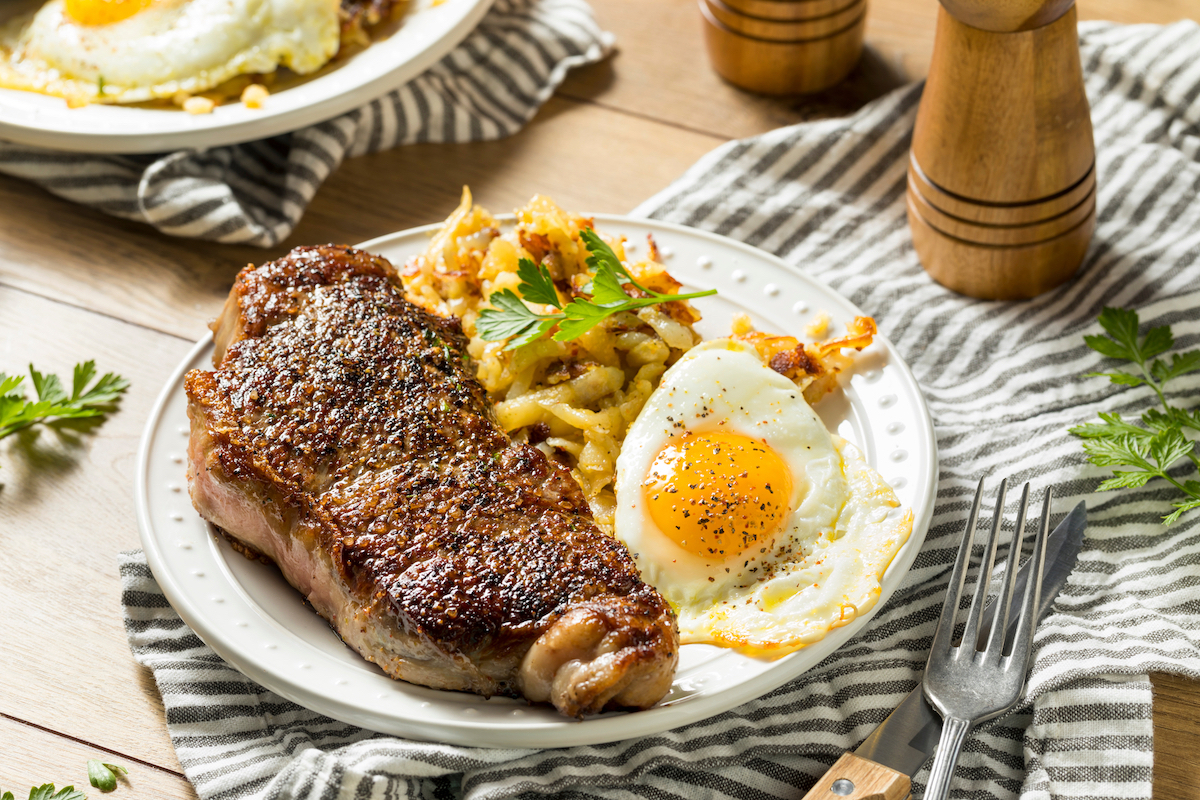 Homemade Steak and Eggs Breakfast with Potatoes