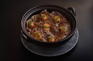 Wagyu beef, sea urchin rice in pot