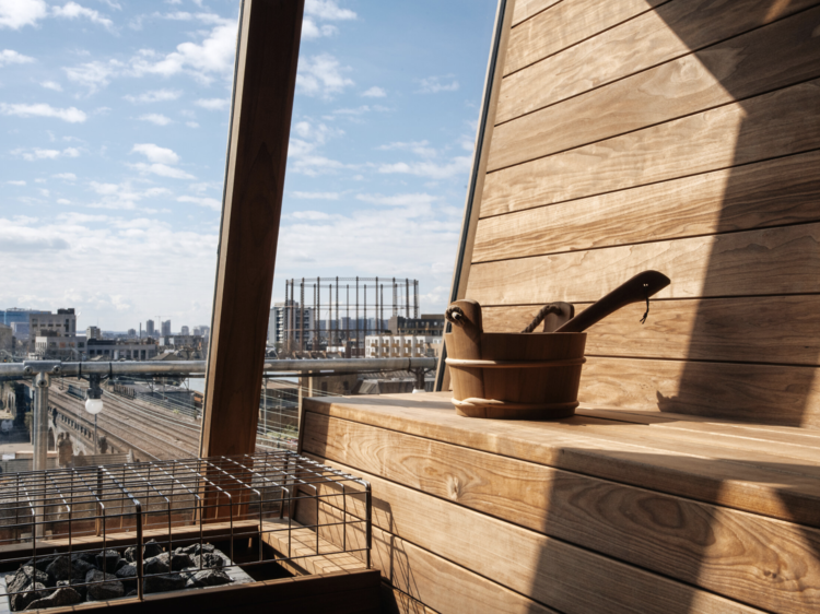 Relax in a rooftop sauna overlooking east London