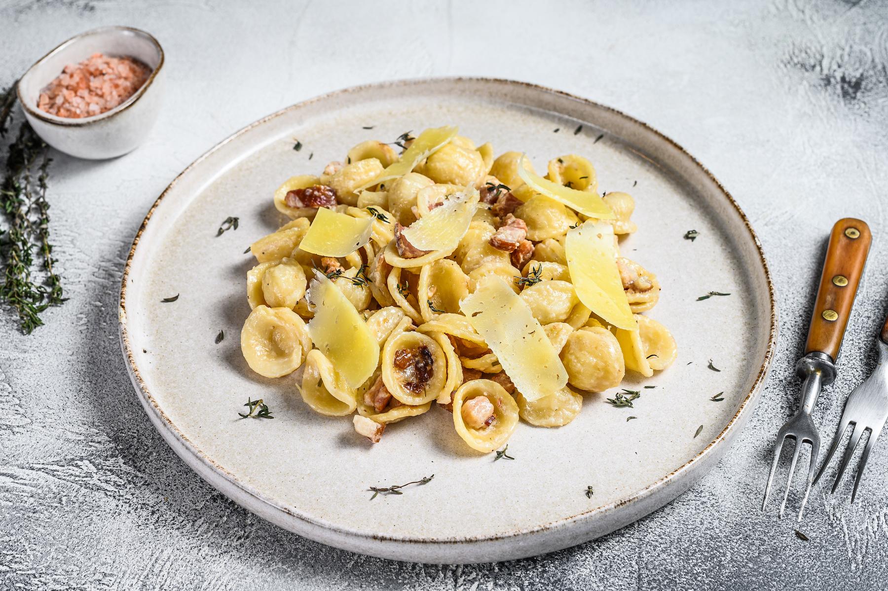 Orecchiette, carbonara, pasta, dish, food, italian, plate, noodle, noodles, shutterstock